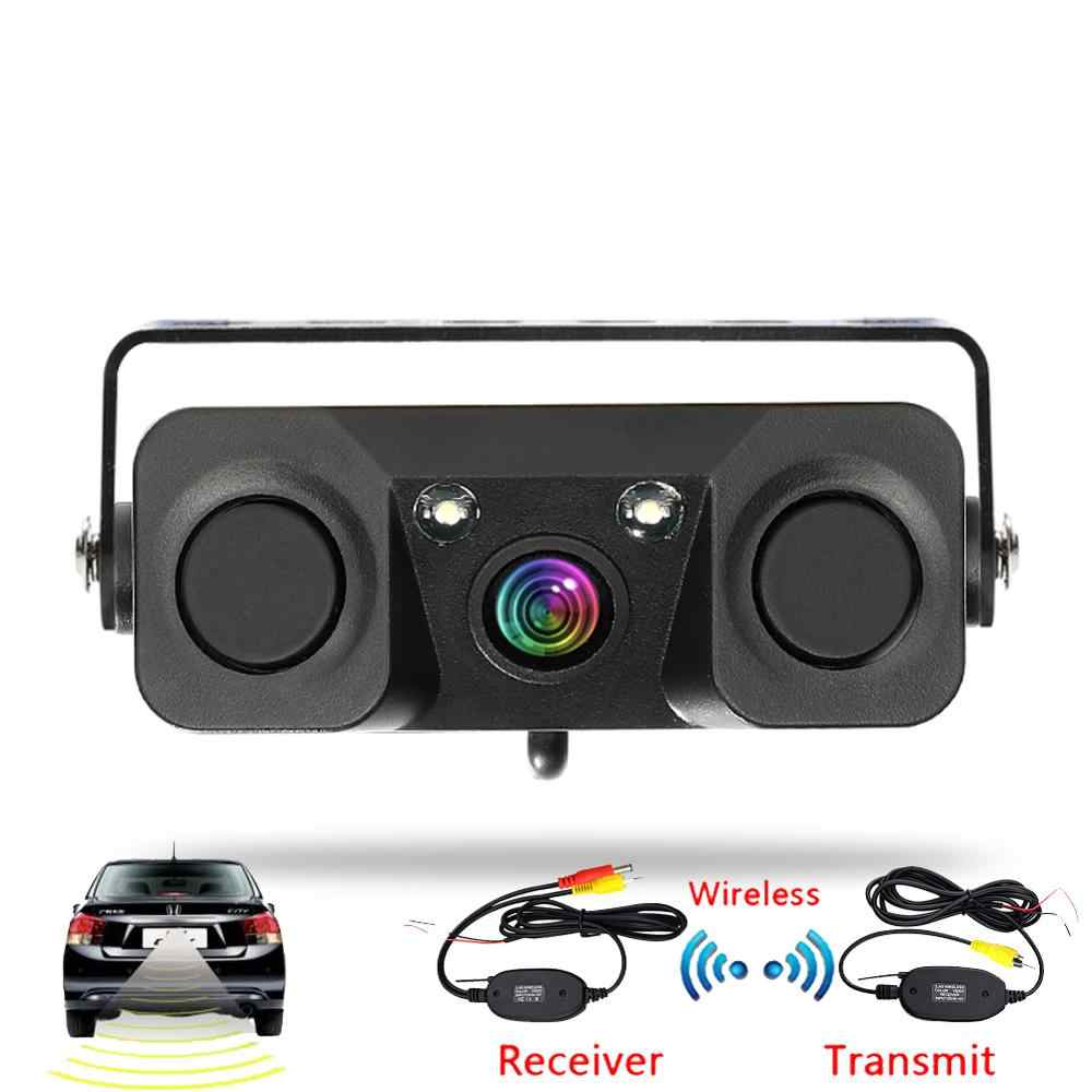 3 In 1 Mobil Malam Visi Rear View Kamera Radar Parking Sensor 170 Derajat IP67 Tahan Air dengan 2.4G Nirkabel transmitter Receiver