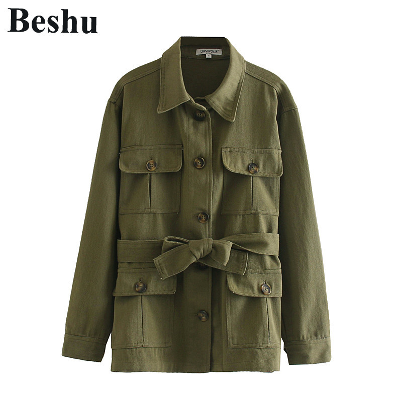 za 2019 coats and jackets women army green tooling pockets decoraction denim jacket women with sash safari style