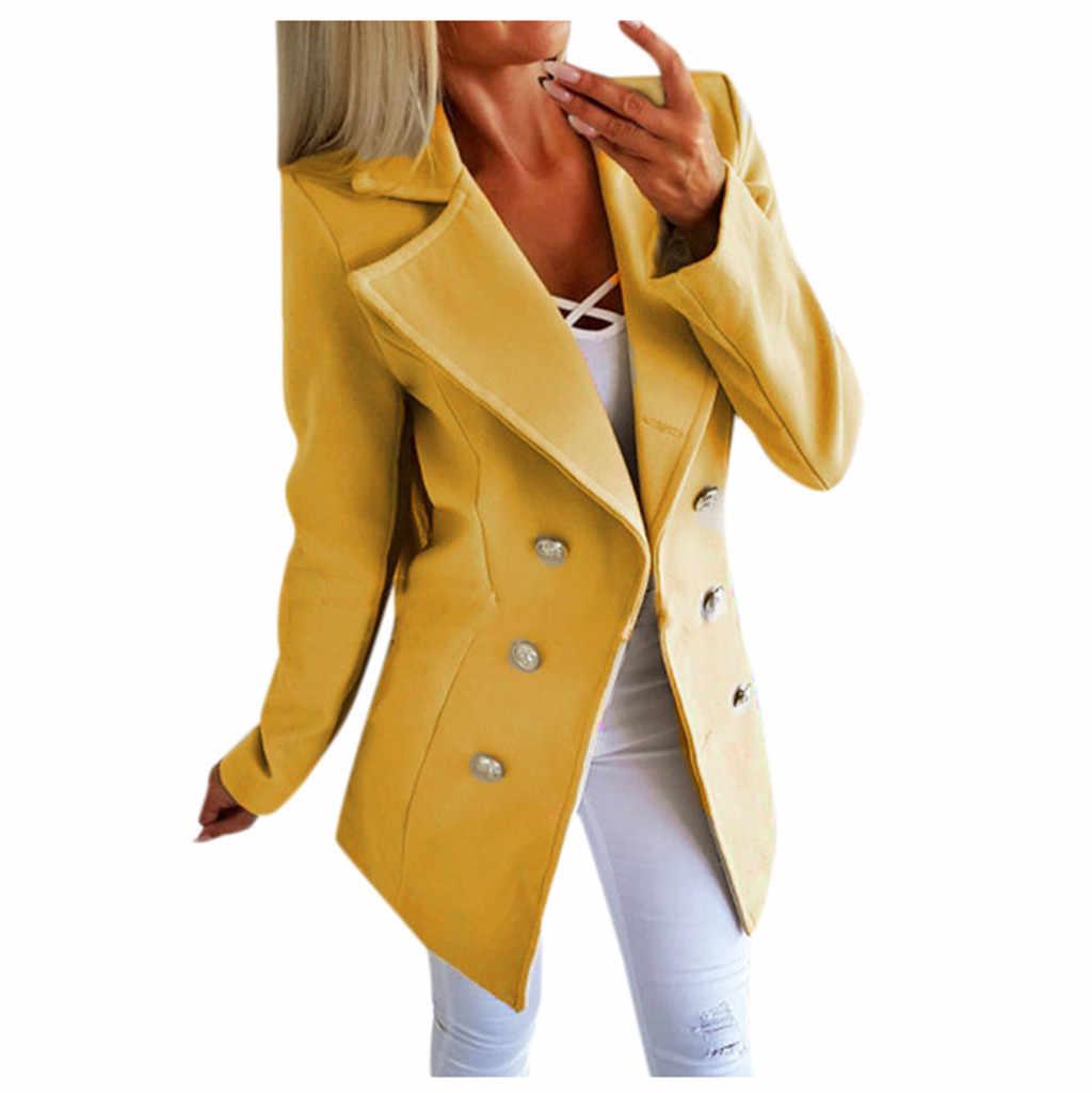 حجم كبير معطف المرأة الصوفية مزدوجة الصدر زر فتح الجبهة العسكرية السترة السيدات مكتب دعوى معطف سترة ملابس خارجية