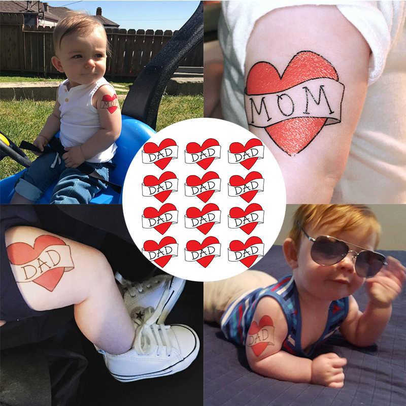 Bebê prop criança removível à prova dremovable água temporária tatuagem adesivo amor coração vermelho pai/mãe crianças meninos meninas tatuagens falsas