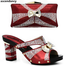 Latest Red Color Italian Ladies Shoes and Bag Sets Decorated with Rhinestone African Matching Shoes and Bags Italian In Women(China)