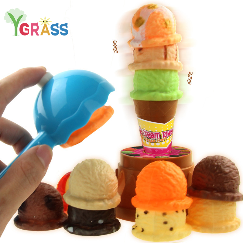 Ice Cream Stack Up Play Tower Educational Toys Kids Cute Simulation Food Toy Children Ice Cream Pretend Play Desk Game