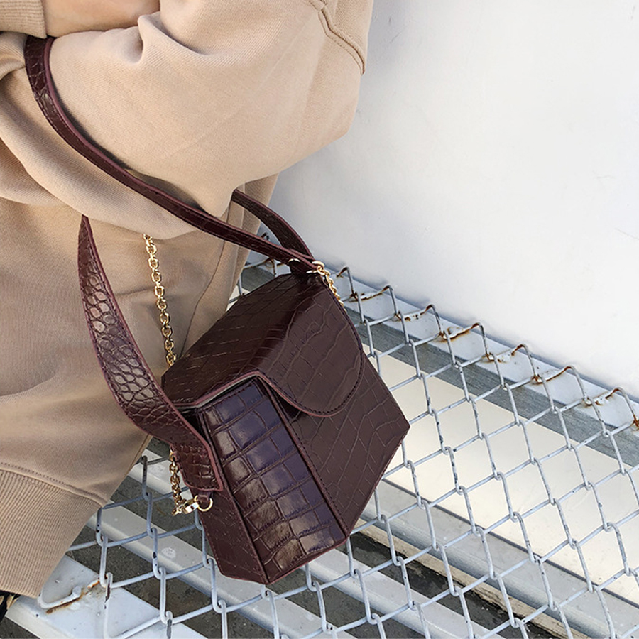 Women Bags Crocodile Crossbody Handbags For Women Shoulder Bag Brand Designer Luxury PU Leather Small Bucket Bags Handbag in Top Handle Bags from Luggage Bags
