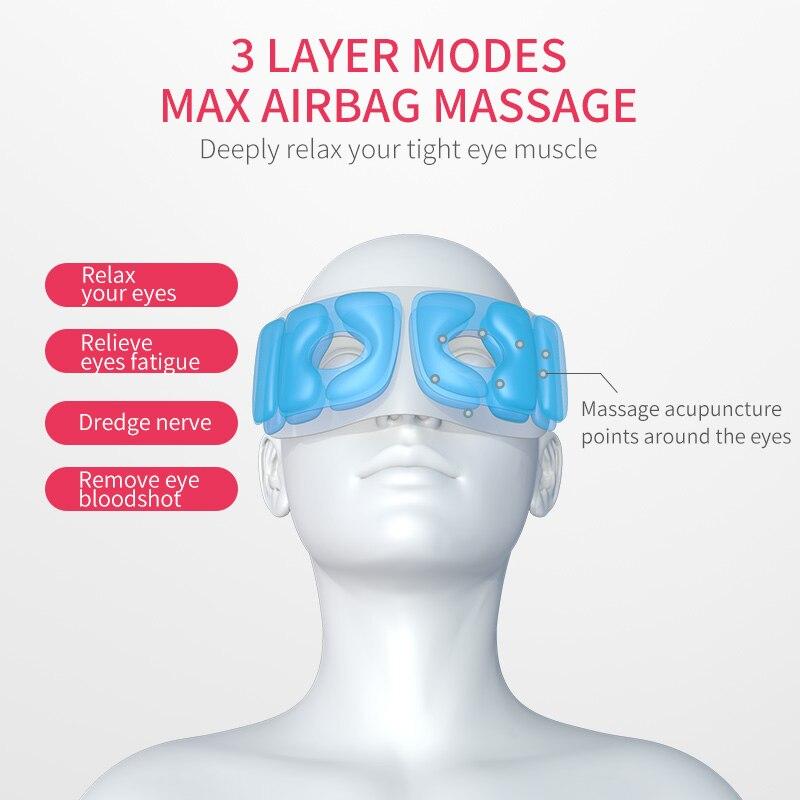 Интеллектуальный массажер для глаз Электрический портативный USB Перезаряжаемый Регулируемое давление защита глаз с подогревом давление в... - 4