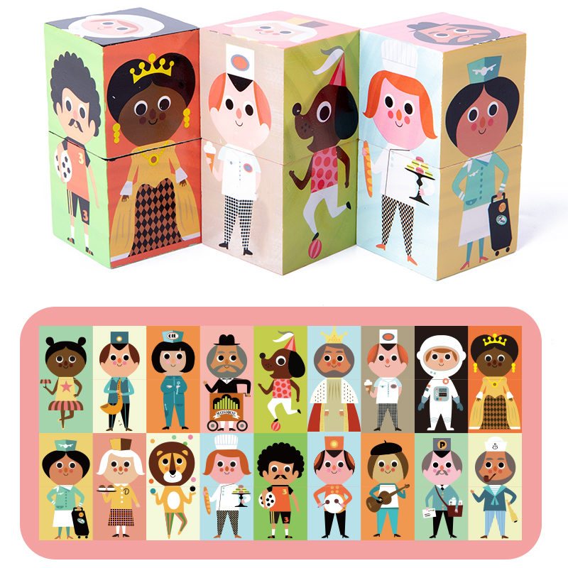 Baby Jigsaw Puzzle Toys Wooden Cubes Match Game Learning Educational Toys Baby Montessori Toys Preschool Toys For Kids