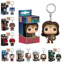 Funko pop Keychain Justice League - Batman, Aquaman, Flash, and Cyborg Action Figure Key Chain Collectible Model Toy(China)