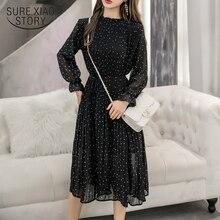 黒古着春女性ロングシフォンドレス2020新韓国ファッション女性長袖水玉プリーツドレス3670 50