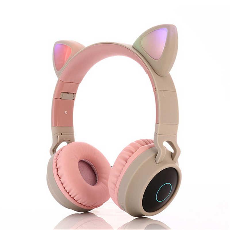 Hot LED หูฟังบลูทูธ 5.0 หนุ่มสาวเด็กชุดหูฟังสำหรับโทรศัพท์ PC แล็ปท็อปเด็กพับ TF Card 3.5 มม. ปลั๊กไมโครโฟน