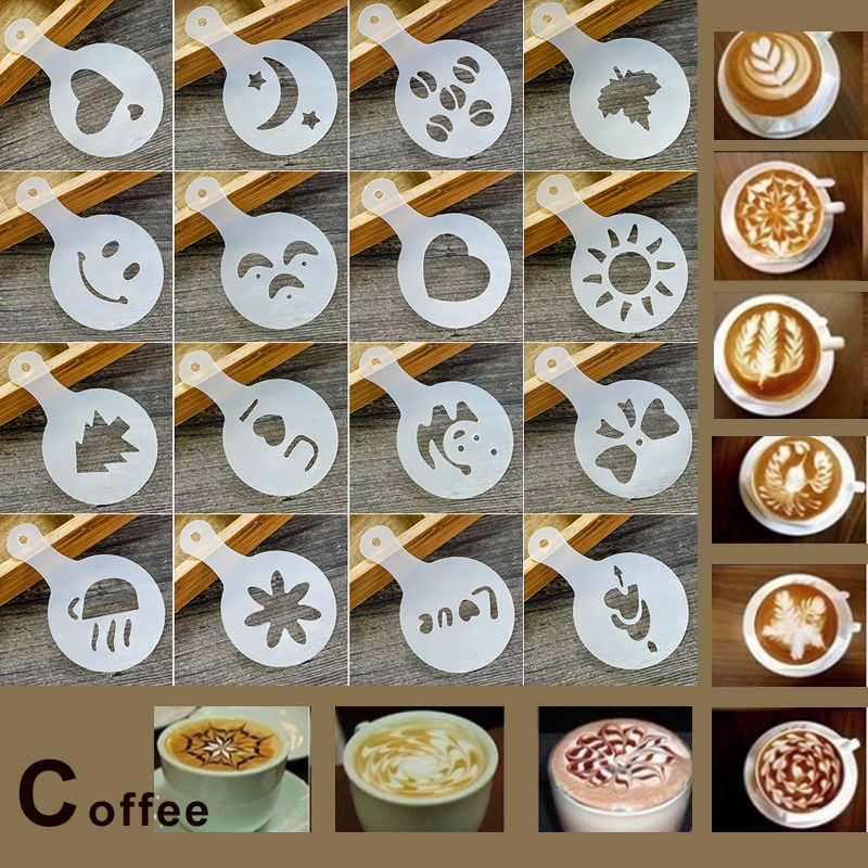LHX 16Pcs Coffee Stencils Set Drawing Tools Maker Fancy Coffee Printer Model Plastic Template Mold for Kitchen Coffeeware HP004A