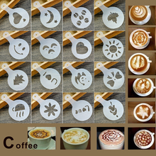 LHX 16Pcs Coffee Stencils Set Drawing Tools Maker Fancy Printer Model Plastic Template Mold for Kitchen Coffeeware HP004A