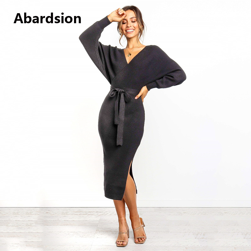 Abardsion Women Knitted Sweater Dress Wrap Belted Tunic Midi Vestidos Long Sleeve Double V Neck Split Casual Autumn Dresses 19 6