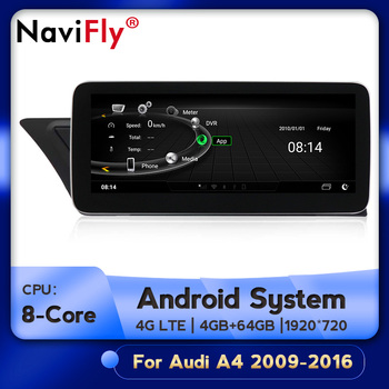 Car multimedia player 4GB+64GB 4G LTE Android Auto gps navigation for Audi A4 A5 2009 2010 2011 2012 2013 2014 - 2016 image