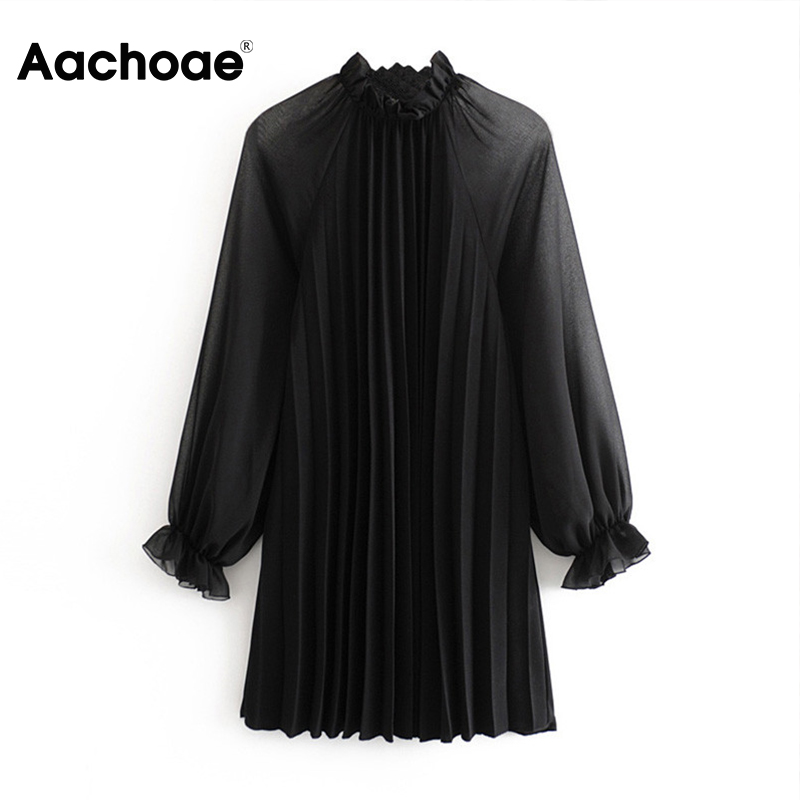 Aachoae Women Black Pleated Dress Spring Butterfly Long Sleeve Mini Dress See Through Ruffled Collar Casual Dress Female Vestido