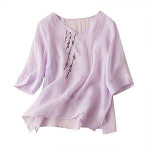 Estilo chinês bordado das mulheres topos e blusas 2020 meia manga com decote em v blusas femininas elegantes fino bluzki letnie damskie