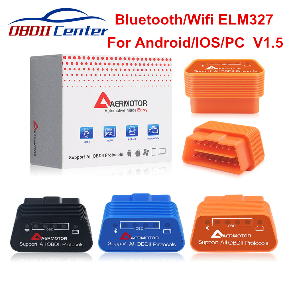 Original Aermotor Wifi ELM327 V1.5 Bluetooth 4.0 <font><b>ELM</b></font> <font><b>327</b></font> <font><b>1.5</b></font> OBD2 Diagnostic Scanner Android IOS Windows Works ELM327 Adapter image