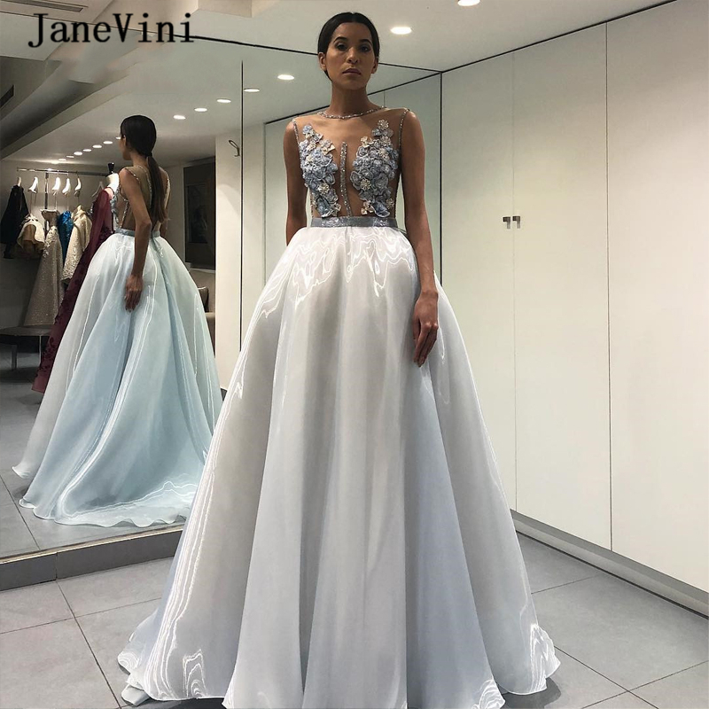 JaneVini Charming Light Blue Long Prom Dresses A Line Lace Appliques Beaded See Through Floor Length Organza Formal Prom Gowns