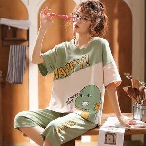 Image 5 - 女性のパジャマセット夏プラスサイズニット綿ナイトウェア女性大サイズ 5XL 半袖パジャマセットやホームウェアパジャマ