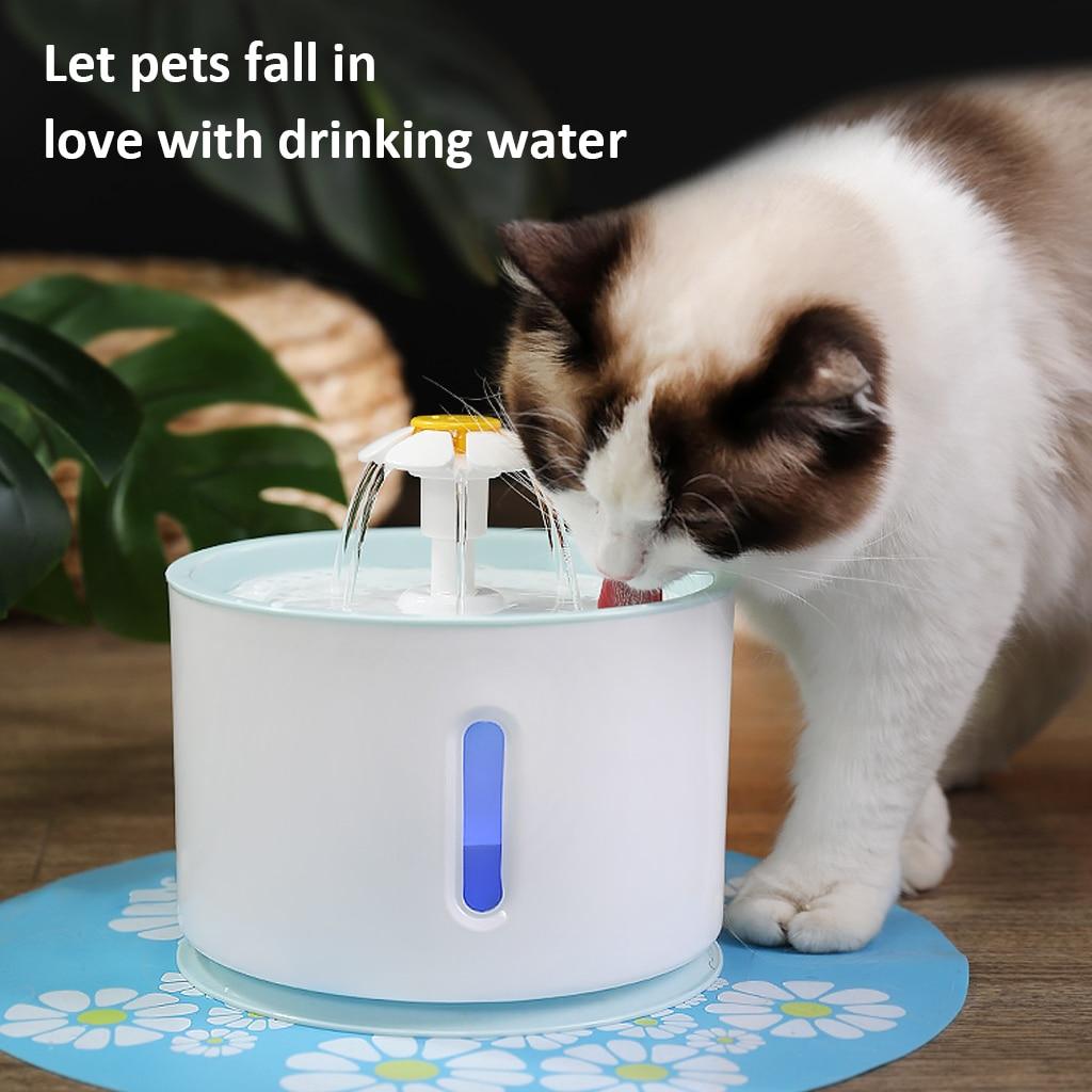 2.4L светодиодный электрический USB питомец немой поилка автоматическая кормушка для домашних животных кошка фонтан миска фонтан для животны...