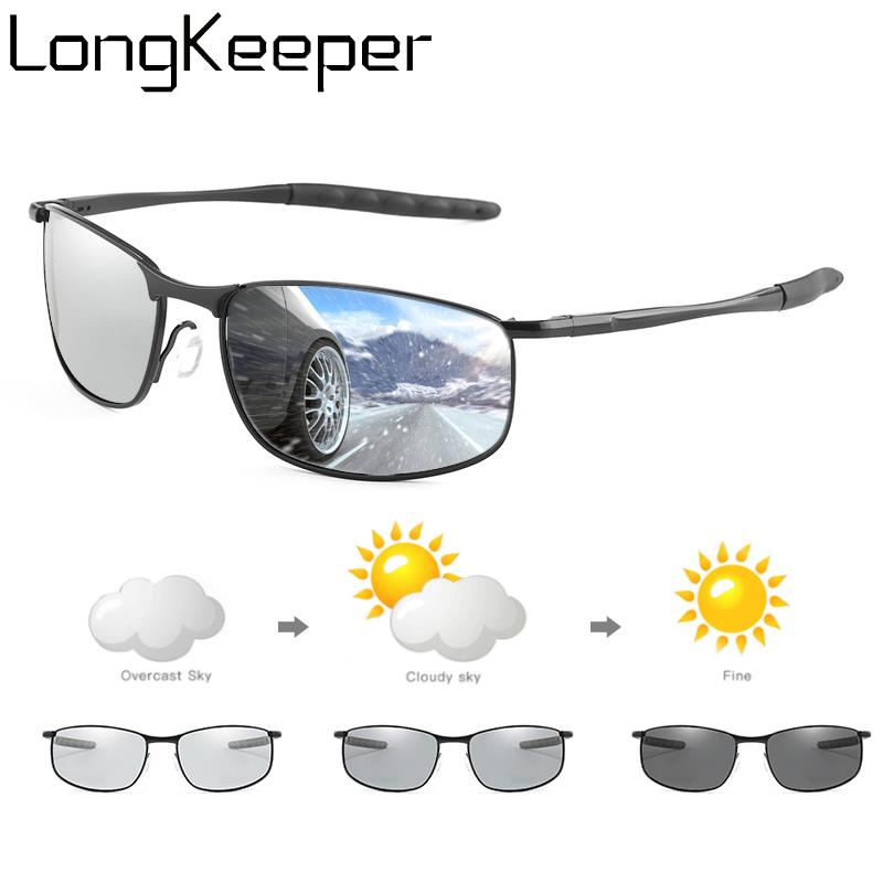 LongKeeper Photochromic Sunglasses Men Polarized Chameleon Glasses Change Color Sun Glasses Driver Goggles Lentes Sol Hombre