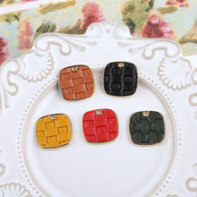 New arrived 30pcs/lot color pu leather core geometry square shape alloy floating locket charms diy jewelry earring accessory(China)