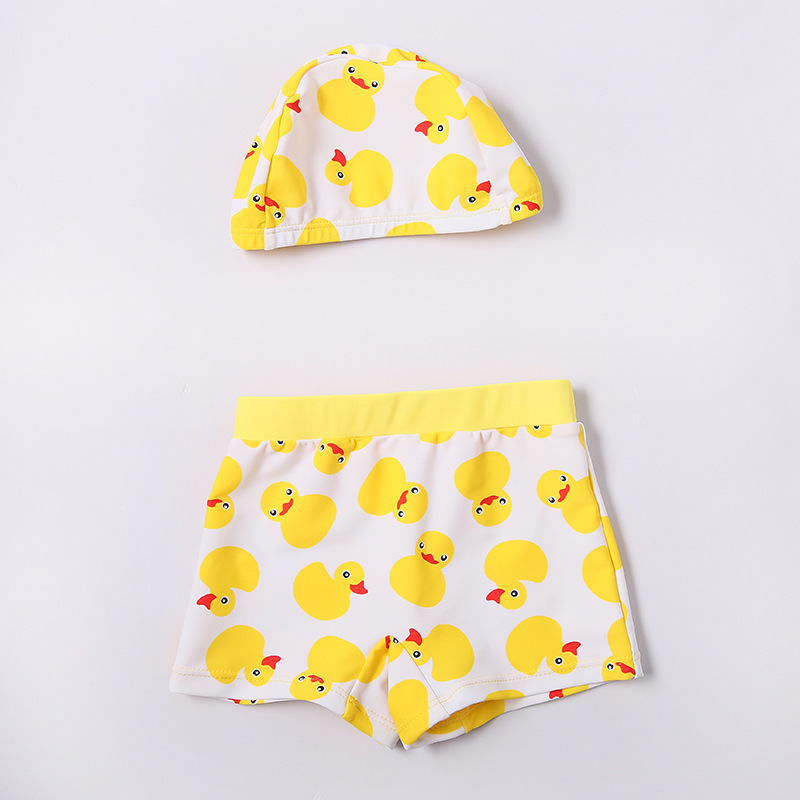 2017 Xiqi New Style Children Swimming Trunks Small Yellow Duck BOY'S Cartoon Printed Male Baby Bathing Suit With Swim Cap