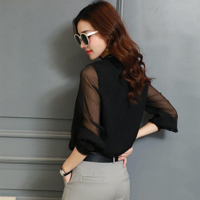 Chiffon Blouse New Women Tops Long Sleeve Stand Neck Work Wear Shirts Elegant Lady Casual Blouses women's blusas Plus size 2
