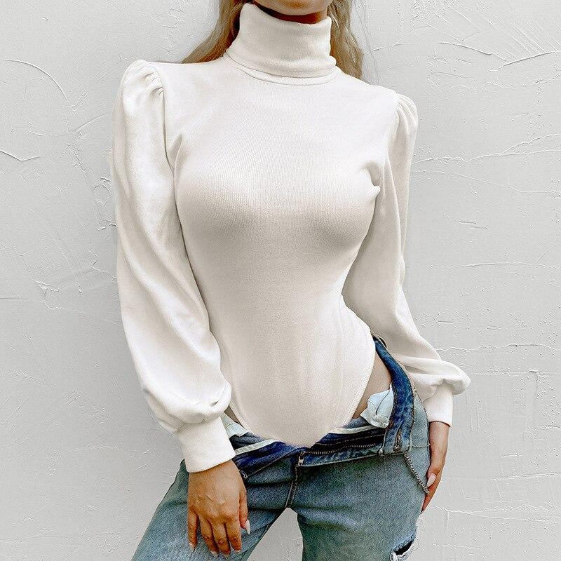 Turtleneck Puff Sleeve White Bodysuit Women Fashion Winter Casual Solid Cotton Basic Bodysuits Romper Female Autumn Body Femme