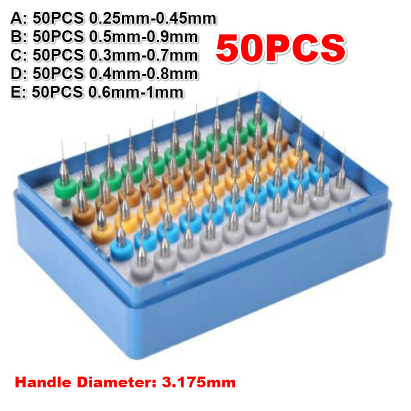 50pcs/set Tungsten Hard Alloy PCB Print Circuit Board Engraving Tool Carbide Micro Drill Bits Tool 0.25mm - 1mm Q1I0