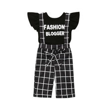 цена на Fashion Blogger Baby Girl Kids T-shirt Tops+Striped Bib Pants 2Pcs Children Toddler Girls Summer Outfit Clothes Set 1-6T