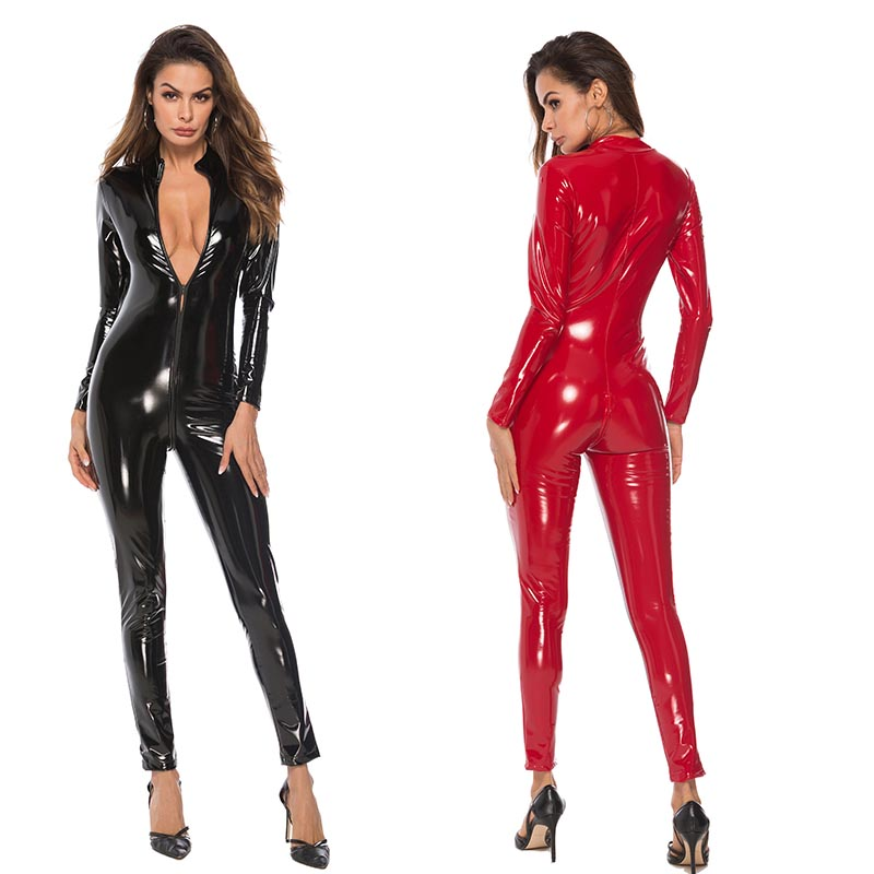 Sexy Women Latex Look Faux Leather Bodysuit Long Sleeve Catsuit Zip Open Crotch Romper Jumpsuit Catwoman Costume Plus Size