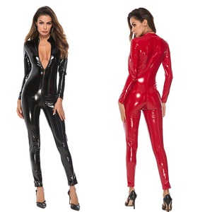 Sexy Women Latex Look Faux Leather Bodysuit Long Sleeve Catsuit Zip Open Crotch Romper Jumpsuit Catwoman Costume Plus Size(China)