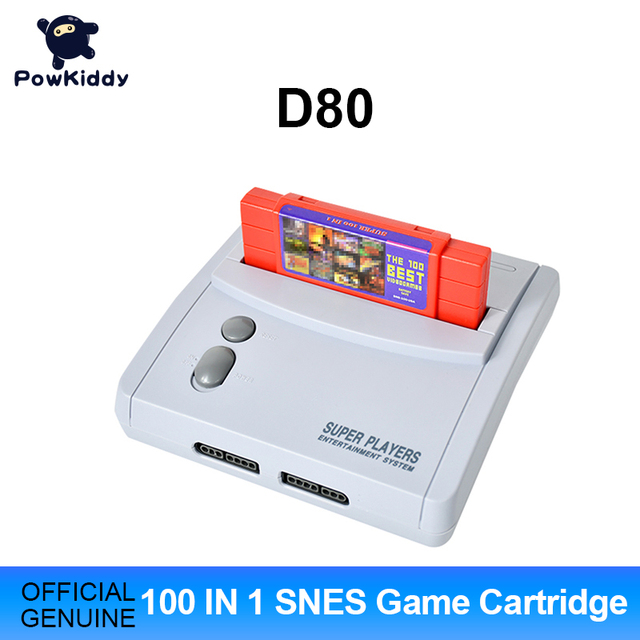 POWKIDDY D80 TV Video Game Console For S n e s 16 Bit Games With 100 In 1 SNES Game Cartridge (Can Battery Save)
