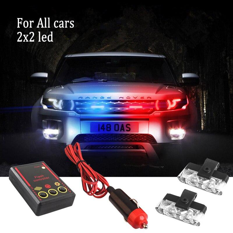 MZORANGE 2X2 LED Stroboscopes Police Strobe Lights Kit Emergency Vehicles Flashing Warning Light 12V Ambulance Car Truck Led Fog