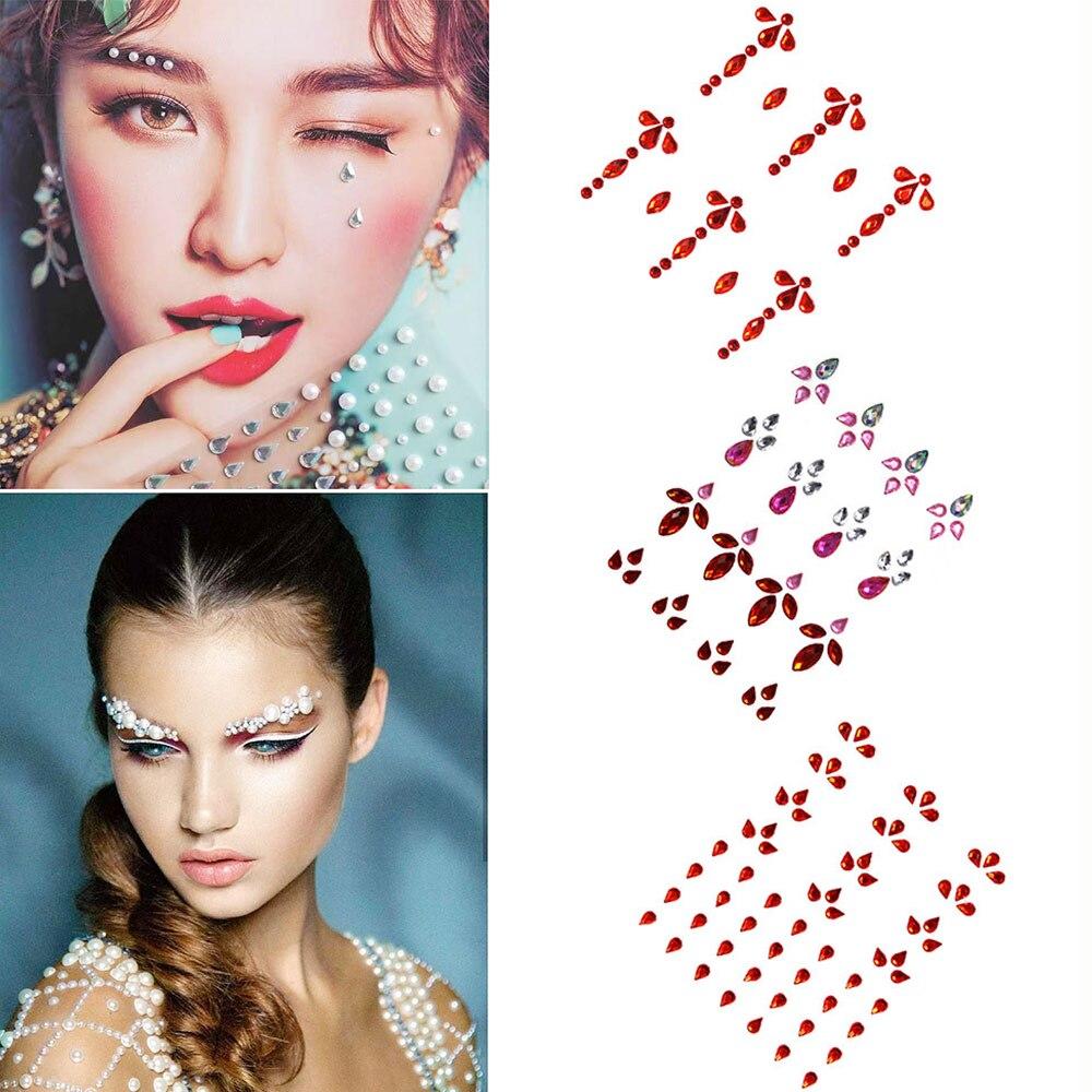 3D Single Grain With Glue DIY Eye Crystal Sticker Makeup Trendy Shiny Acrylic Face Adhesive Acrylic Drill Tattoo Sticker