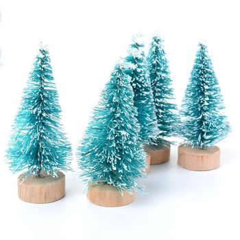 Mini Green Sisal Bottle Brush Xmas Christmas Trees Snow Frost Village Putz House image