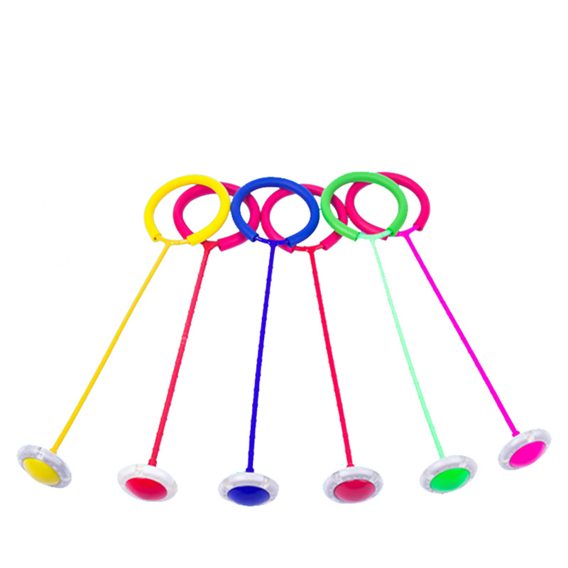 Glowing Bouncing Balls One Foot Flashing Skip Ball Jump Ropes Sports Swing Ball Children Fitness Playing Entertainment Fun Toys