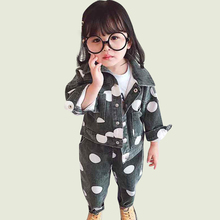 Girls Clothes Denim Jacket amp Jeans 2 Pcs Suit For Girls Fashion Dot Girls Clothing Sets Spring Autumn Baby Clothes For Girls cheap Startist Full Single Breasted polka dot Turn-down Collar 0183963 REGULAR Jackets Children COTTON Polyester Fits true to size take your normal size