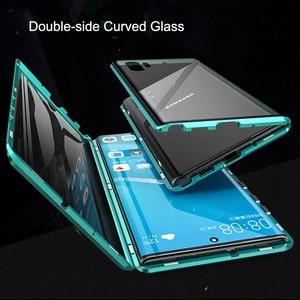 Image 5 - Magnetyczny dwustronnie szkło hartowane etui do Samsung Galaxy Note 10 Pro Plus Case odporny na wstrząsy twardy pancerz metalowy zderzak S20
