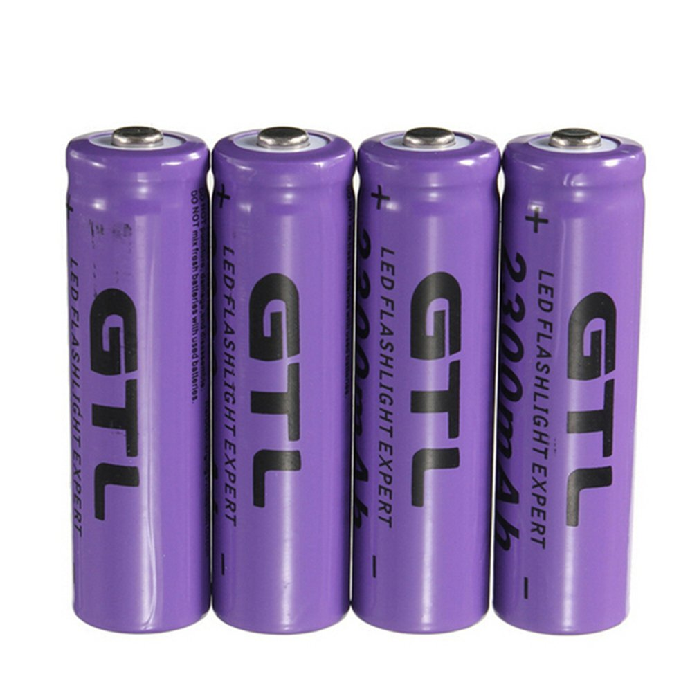 4Pcs <font><b>3.7V</b></font> 2300mAh <font><b>14500</b></font> AA Li-ion Rechargeable Batteries 2A Lithium NiMH NiCd Battery Baterias Bateria Purple image