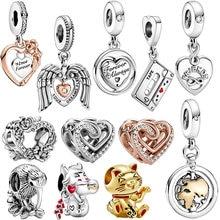 2021 novo 925 grânulos de prata esterlina asas de anjo corações rosa flores encantos caber pandora original pulseira feminino jóias presente diy