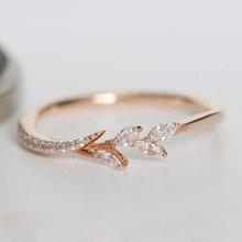 2020 New Fashion Shiny Tree Branch Ring of Clear Crystal Zircon Branch Rings for Women Unique Thin Branch Wedding Party Jewelry branch