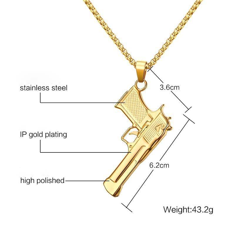 Quente da Cor do Ouro de Aço Colar Venda Inoxidável Top Qualidade Mulheres Solteiras 62mm Pistola Presente Jóias Fxm Cce55