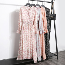 Autumn Office Floral Print Dress Vintage Bow Tie Neck Button Elastic Waist Chiffon Dresses Ruffle A Line Slim Long Dress Female contrast trim floral print tie waist dress