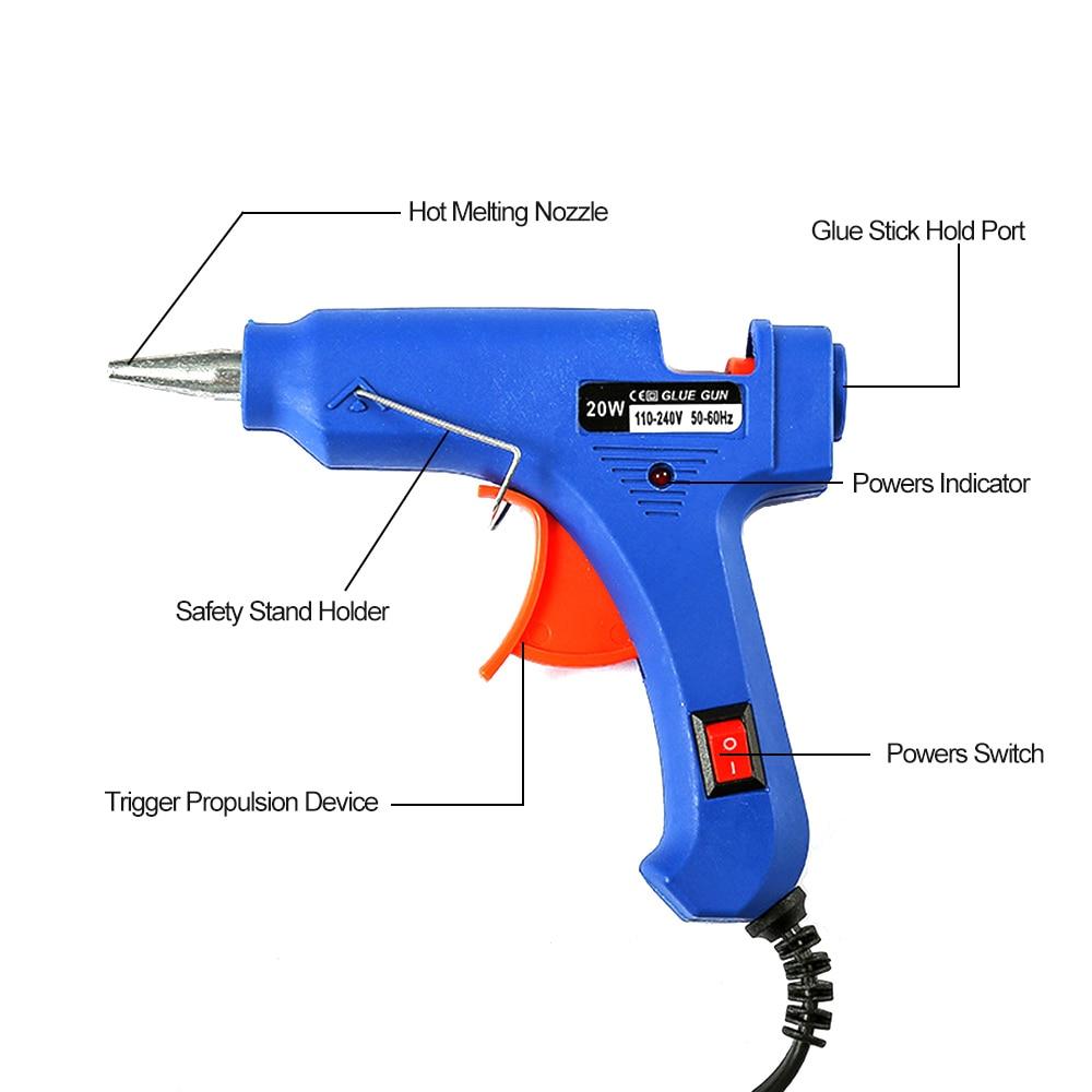 20W 100V 240V Hot Melt Glue Gun High Temp Heater Automatic Temperature Heating Power Repair Heat Tools for DIY Crafts in Glue Guns from Tools