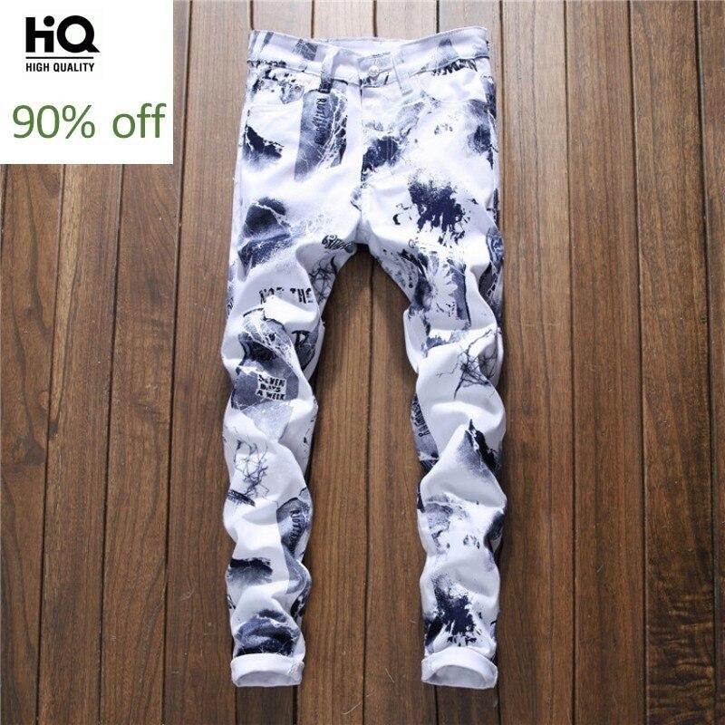 3D Printing Letter Jeans Men 2020 New White Straight Leg Denim Biker Trousers Hip Hop Casual Zipper Long Pants Men Streetwear
