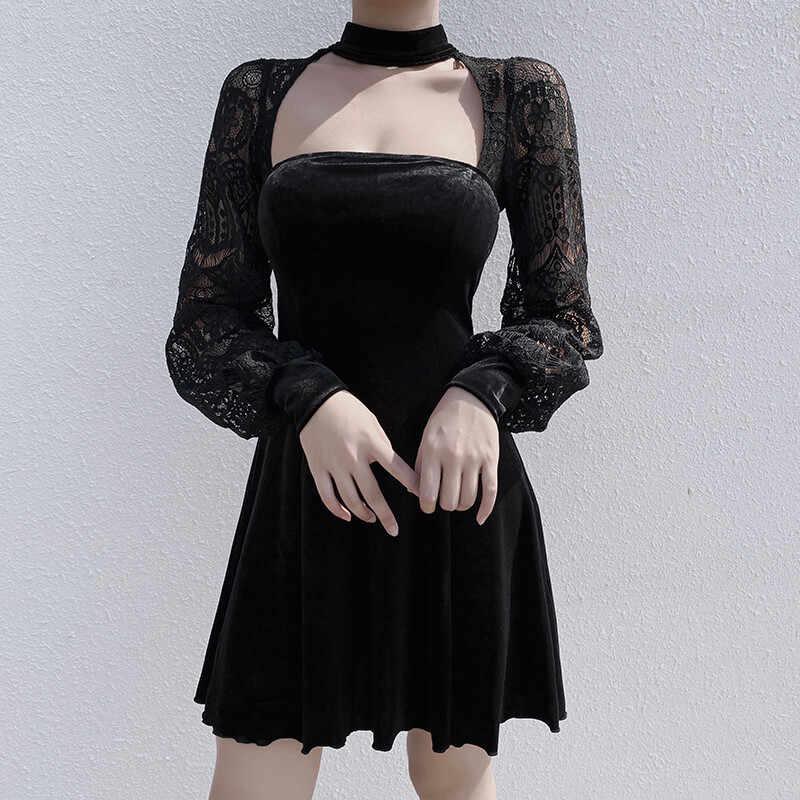 InsGoth Sexy Hollow Out czarna sukienka mini Gothic Streetwear sukienki patchwork kobiety Party blisko elegancka, długa z długim rękawem sukienka vintage