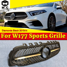 Fits For MercedesMB A Class W177 Diamonds Style Grill ABS Black Without Camera A180 200 250 Front Bumper Grille Sign 19+