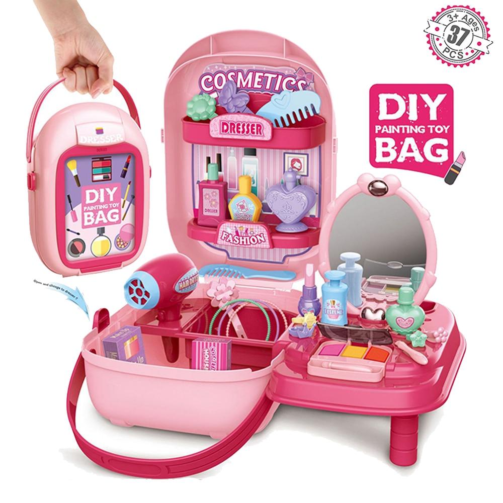 Детский чехол для макияжа и косметический набор, прочный салон красоты с 37 предметами, аксессуары для макияжа, игрушки для девочек