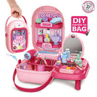 Kids Pretend Play Make Up Case and Cosmetic Set, Durable Beauty Kit Hair Salon with 37 Pcs Makeup Accessories toys for Girls