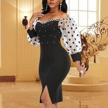 Женские пикантные Платье черного цвета с открытыми плечами узором